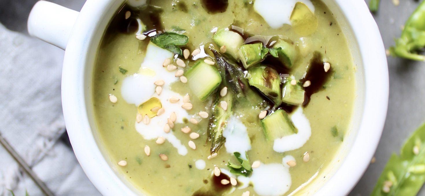 Glutenfreie Spargel-Erbsen-Suppe