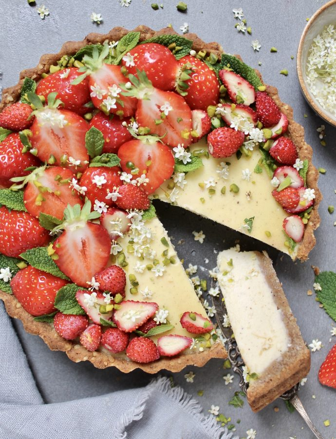 Zuckerfreie Erdbeeren-Vanille Tarte